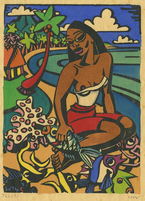 Woman with fishes, hand colored block print, 1945