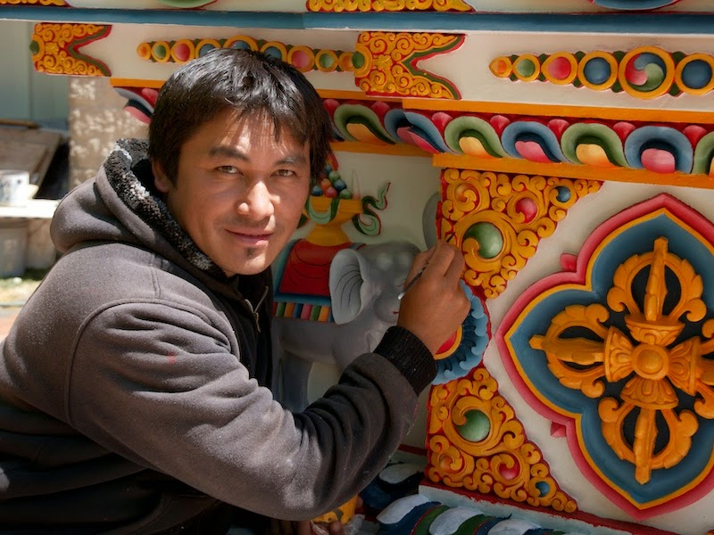 Jampal Jhaula Lama, the artist who decorated the stupa, applying final touches in paint, April 2013.