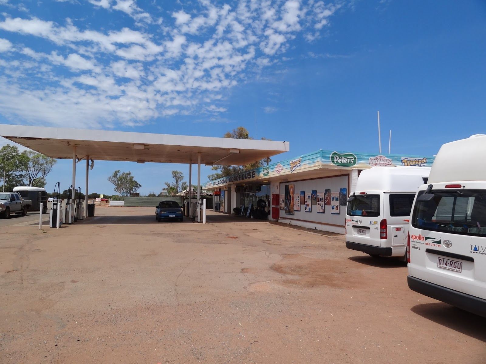 """There was only one town in the 450km I drove today so they have these """"Road houses"""" every 100km or so where you can get food / petrol. This is the Billabong Road House"""