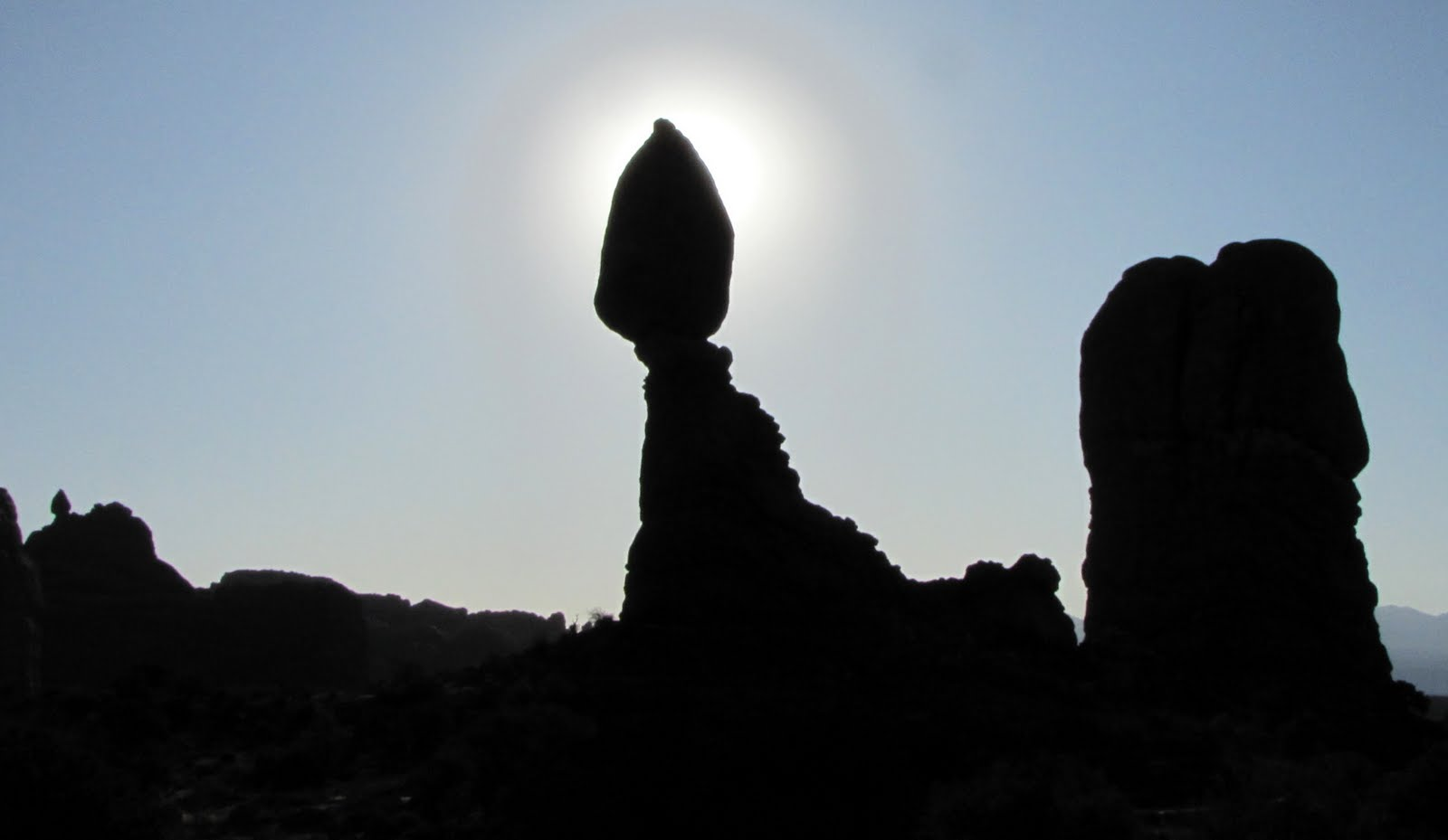 The Balanced Stone with the Rising Sun