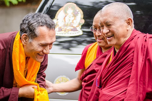 Lama Zopa Rinpoche greets Yangsi Rinpoche when arriving to Land of Medicine Buddha, California, September 21, 2013. Photo by Chris Majors.