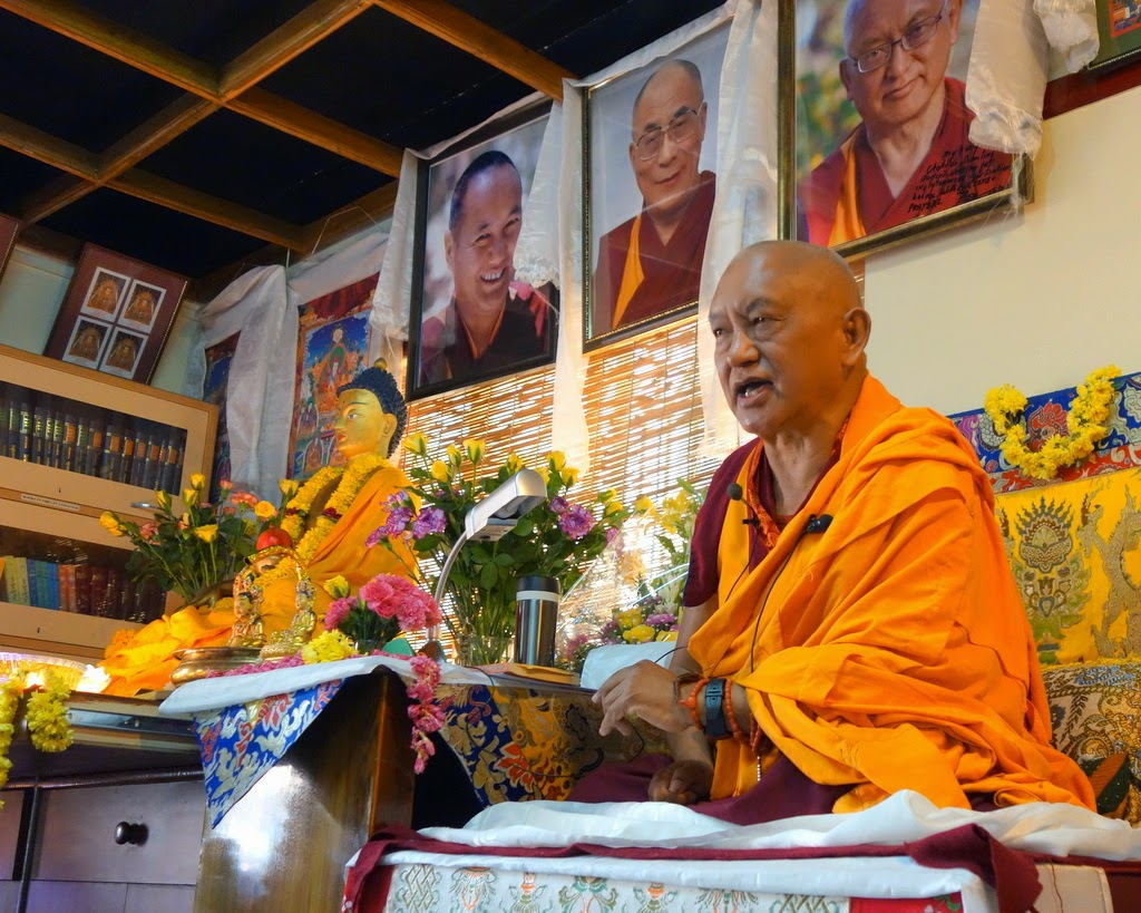 Lama Zopa Rinpoche on the first day of teaching at Choe Khor Sum Ling Study Group, Bangalore, India, March 2014. Photo by Ven. Roger Kunsang.Rinpocheenthusiastically taught onDharmapractice,themeaningofrefugeandthe importance of Dharma.