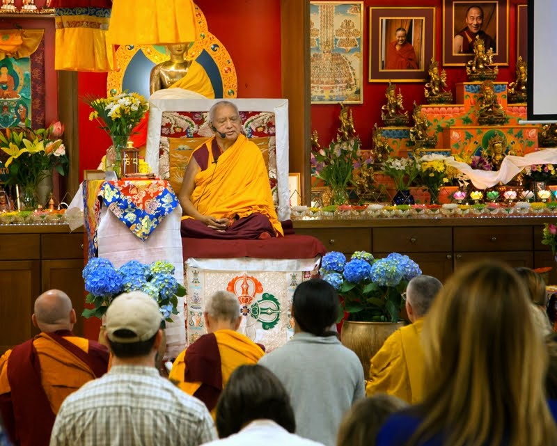 Lama Zopa Rinpoche teaching at Kadampa Center, Raleigh, North Carolina, US, May 3, 2014. Photo by David Strevel.