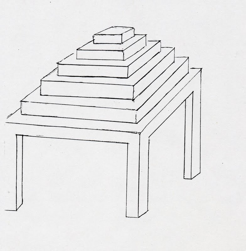 Sketch of an Animal Liberation Altar table, with various levels for more holy objects
