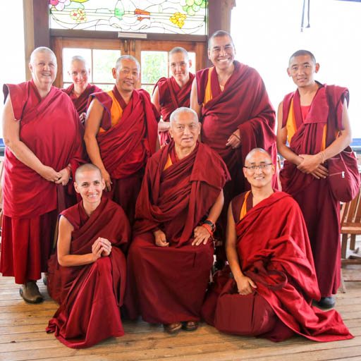 Lama Zopa Rinpoche with Sangha at Chadrakiriti Centre, New Zealand, May 2015. Photo by Ven. Thubten Kunsang.