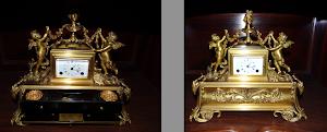 Красивые настольные часы с чернильными принадлежностями. 19-й век. Позолоченная бронза, откидная крышка, два ящичка с принадлежностями для письма. 30/18/27 см. 5900 евро.