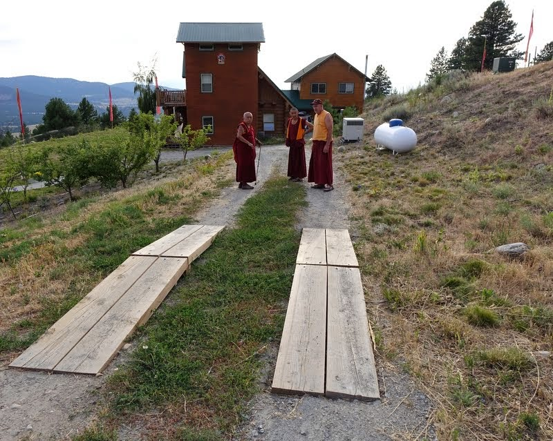 Rinpoche withVens. SangpoandYarpel –thewood planks formasmallbridge to protect the many ants that cross the road there – Buddha Amitabha Pure Land, Washington, US, July 2014. Photo by Ven. Roger Kunsang.