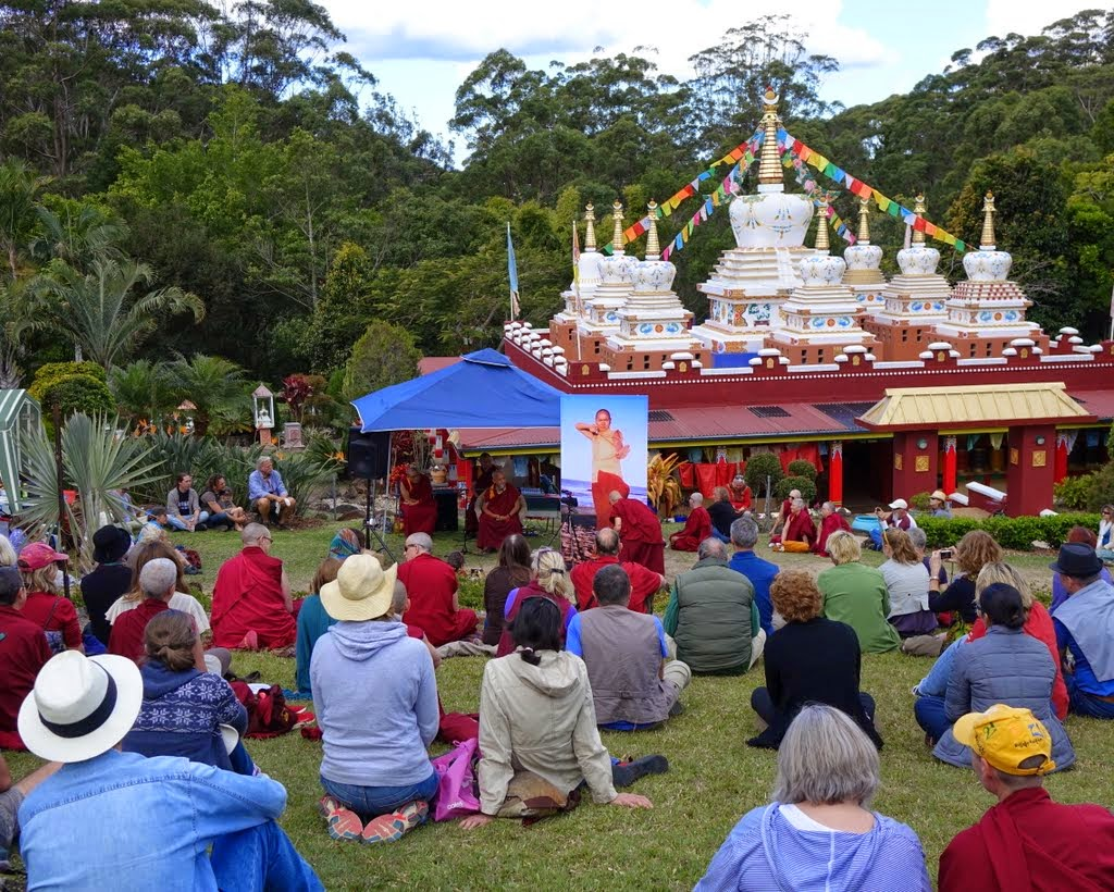 Lama Zopa Rinpoche helps celebrate the 40th birthday of Chenrezig Institute in the Garden of Enlightenment, Eudlo, Queensland, Australia, September 2014. Photo by Ven. Roger Kunsang.
