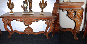 Большой консольный стол ок.1880 г. Мраморная столешница, резные, гнутые ножки. 170/50/90 см. 4900 евро.