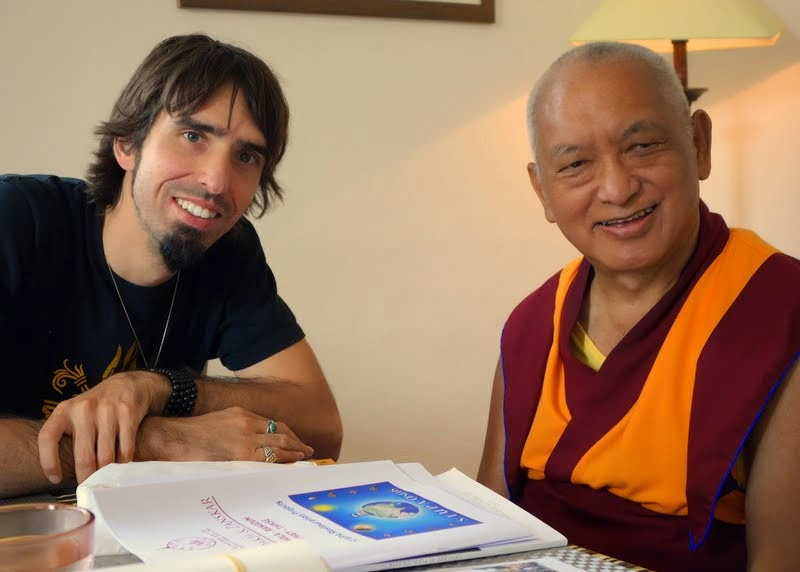 Tenzin Ösel Hita and Lama Zopa Rinpoche after having lunch together, Italy, June 16, 2014. Photo by Ven. Roger Kunsang.