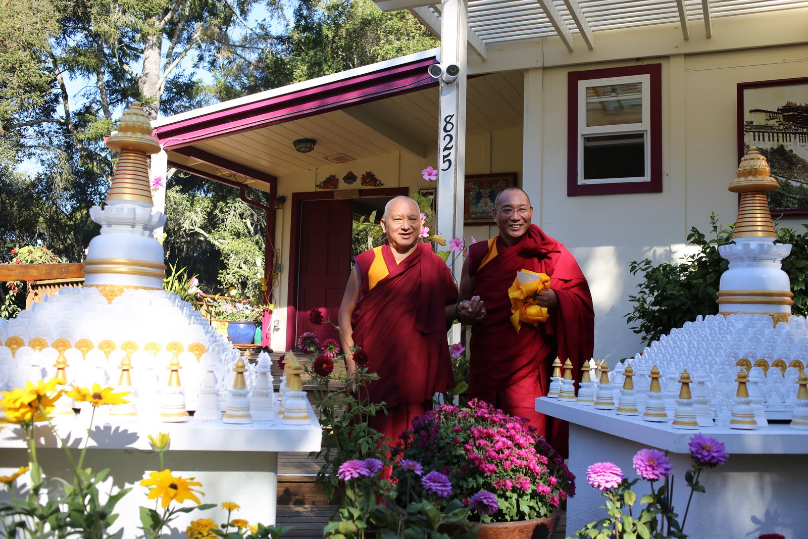 Dagri Rinpoche visiting Lama Zopa Rinpoche at his home in California. October 2013. Ven. Thubten Kunsang.