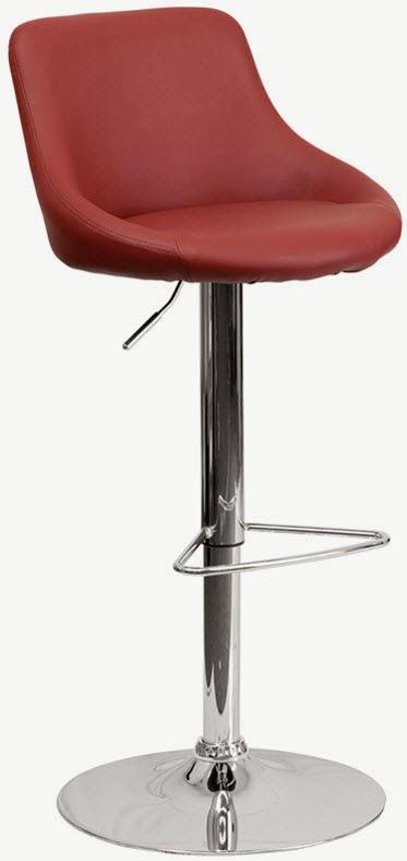 FLASH CH-82028-MOD-BURG-GG CONTEMPORARY BURGUNDY VINYL BUCKET SEAT ADJUSTABLE HEIGHT BAR STOOL WITH CHROME BASE