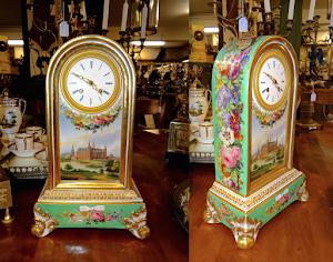 Расписные фарфоровые часы  с цветочным узором. Франция 19-й век. 24/14/38 см. 4800 евро.