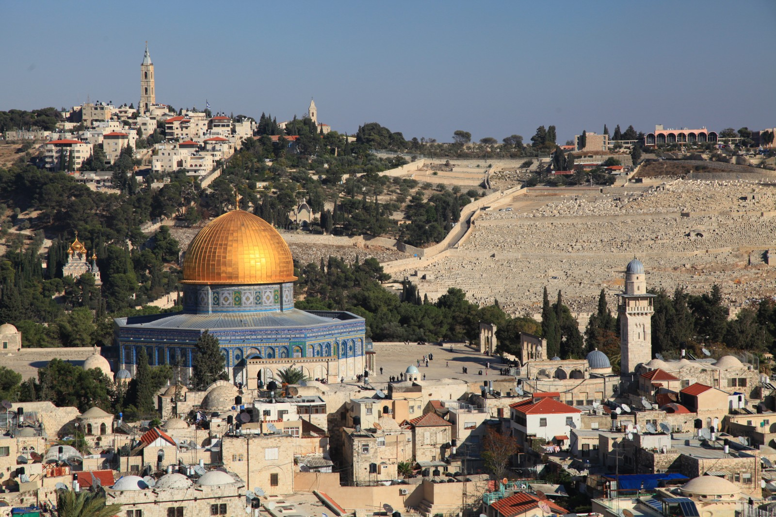Muslims walking around the Temple Mount, others are not allowed for the whole week due to the holidays
