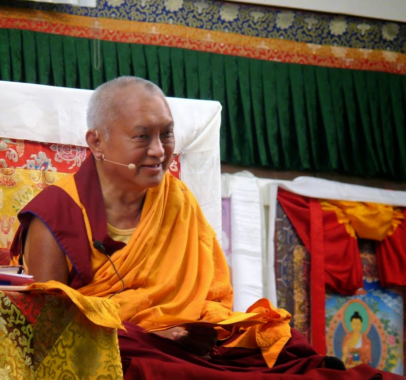 Lama Zopa Rinpoche teaching at Light of the Path retreat, North Carolina, US, May 2014. Photo by Kalleen Mortensen.