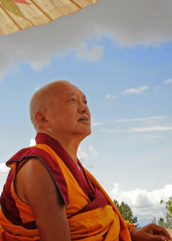 Lama Zopa Rinpoche, Amitabha celebration day, Buddha Amitabha Pure Land, Washington, US, August 2014. Photo by Ven. Sherab.