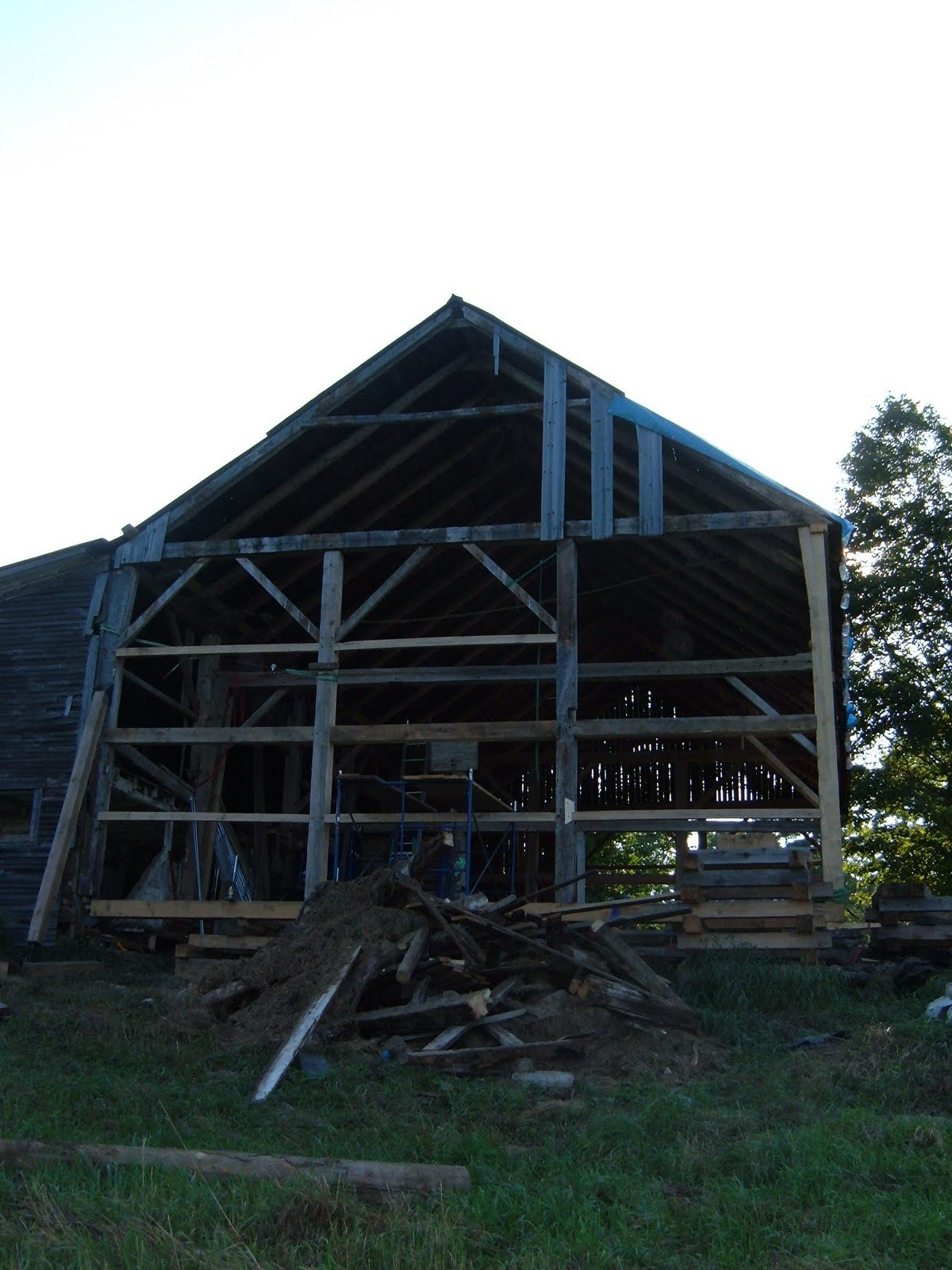 The restored gable is almost complete.