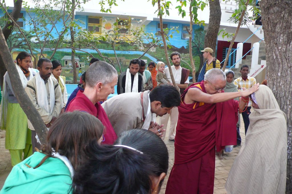 blessing Indian staff at Root Institute