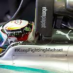 Twitter #KeepFightingMichael on Lewis Hamilton's Mercedes W05