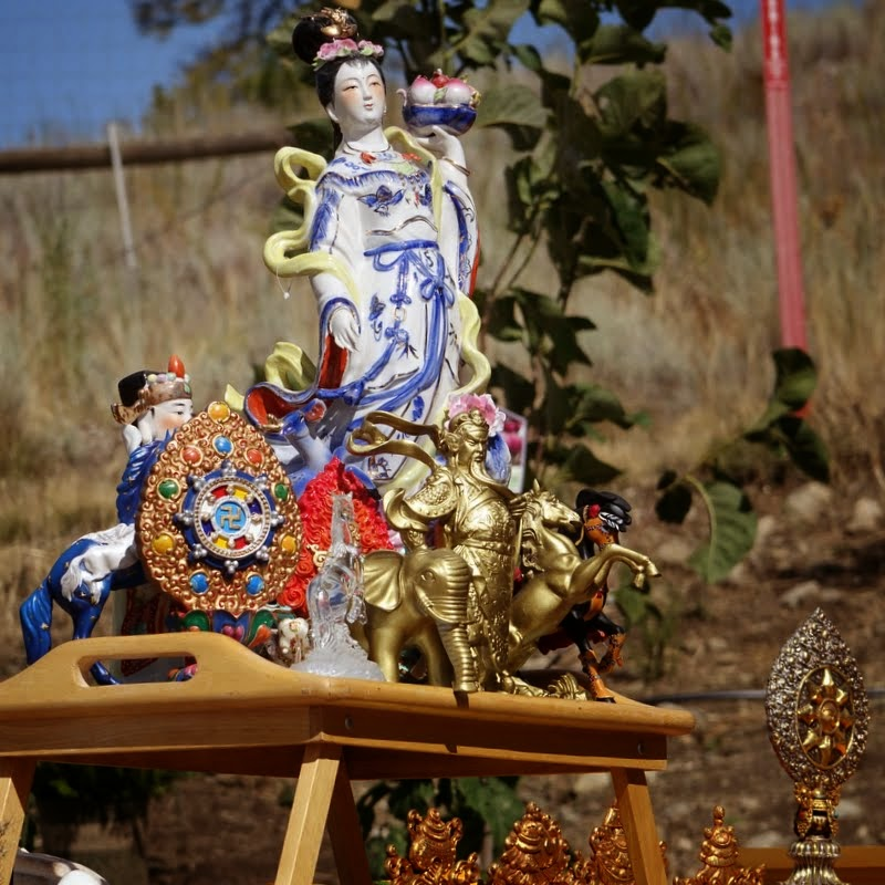 Offerings specified by Rinpoche for Amitabha celebration day, Buddha Amitabha Pure Land, Washington, US, August 2014. Photo by Ven. Roger Kunsang.