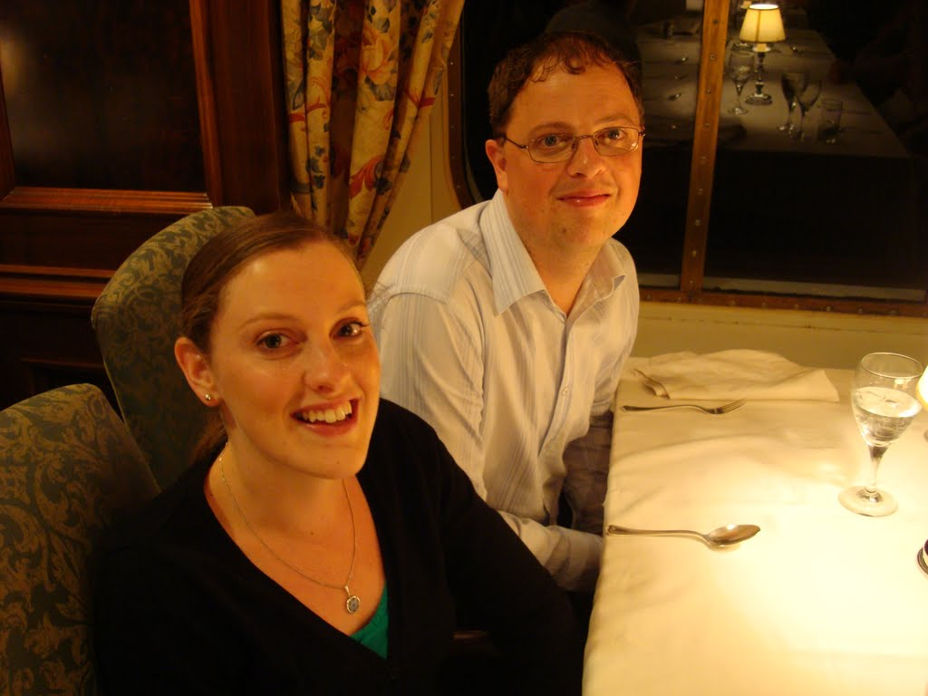 Not the best pic of Tracey and I at dinner