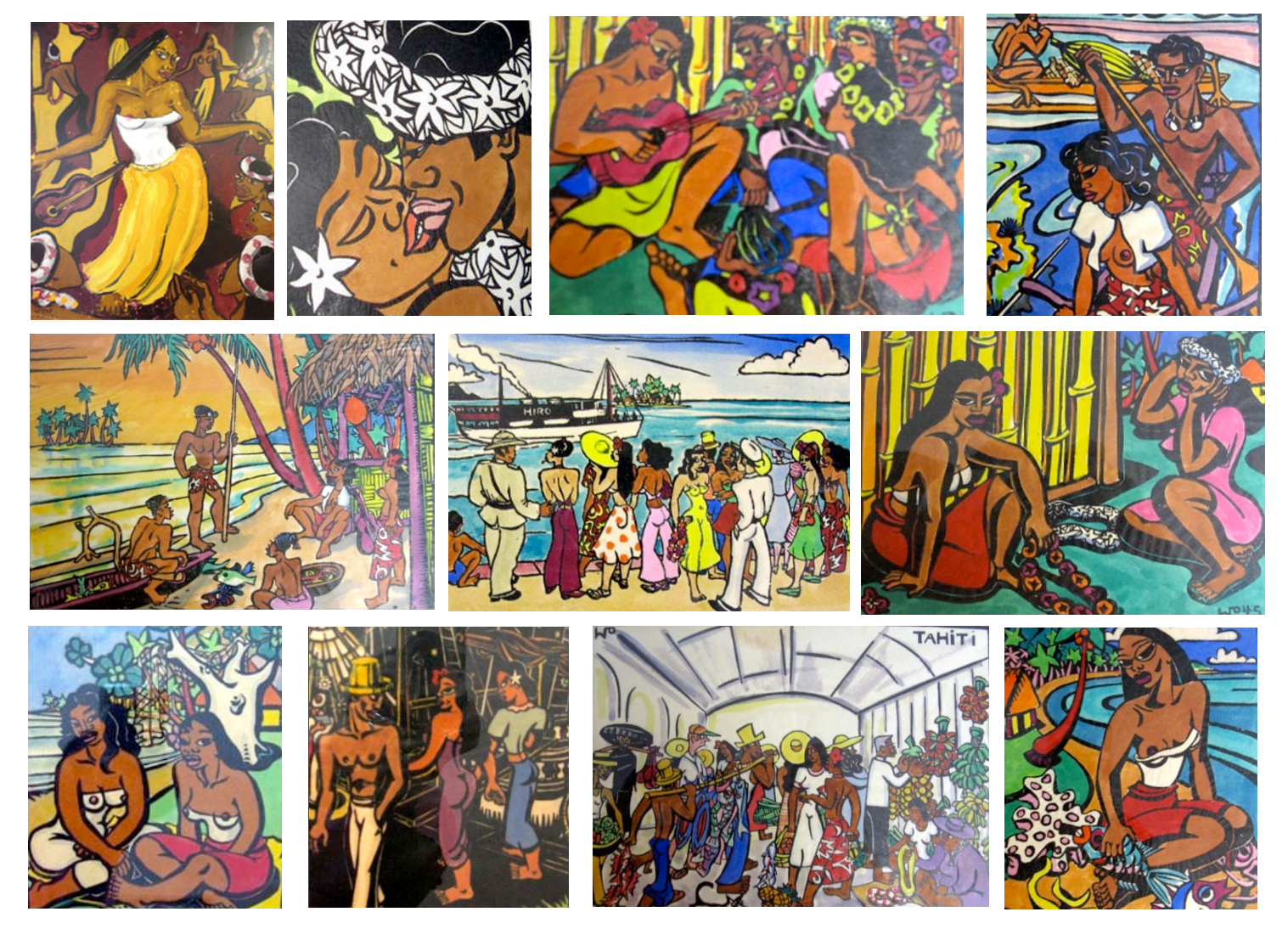 Collage of Tahitian motifs