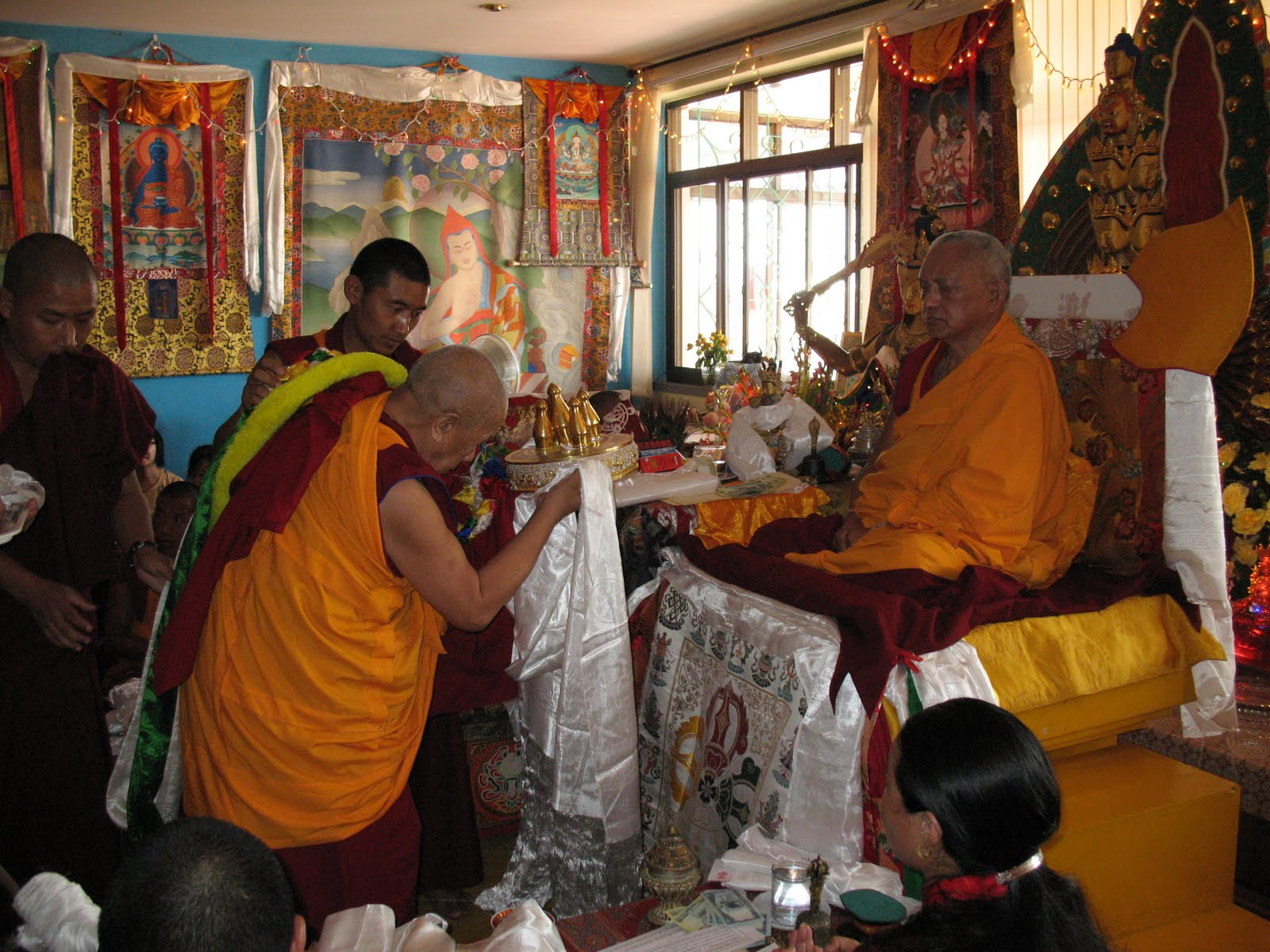 Lama Lhundrup during special long life puja to Lama Zopa Rinpoche, Kopan Monastery, June 2009.