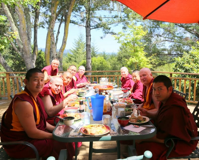 Lunch with Sangha, Kachoe Dechen Ling, Aptos, California, May 2014. Photo by Ven. Thubten Kunsang.