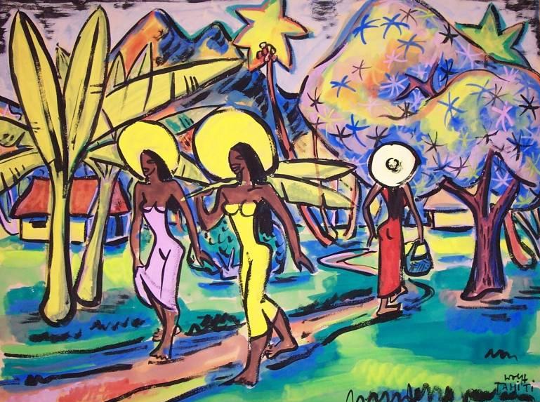 Tahitian women in village, no date