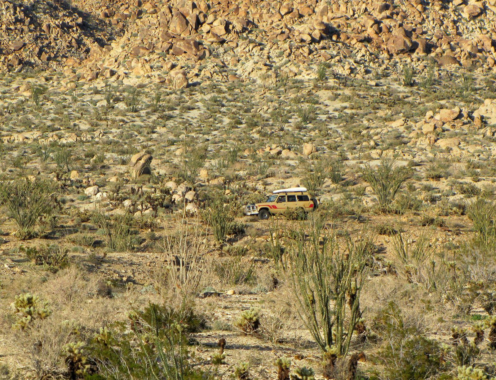 Jan, Gina and Pablo traveling through the Anza Borrego Desert