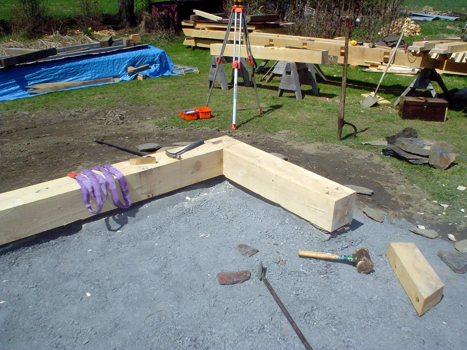 The new sills are set on the foundation.