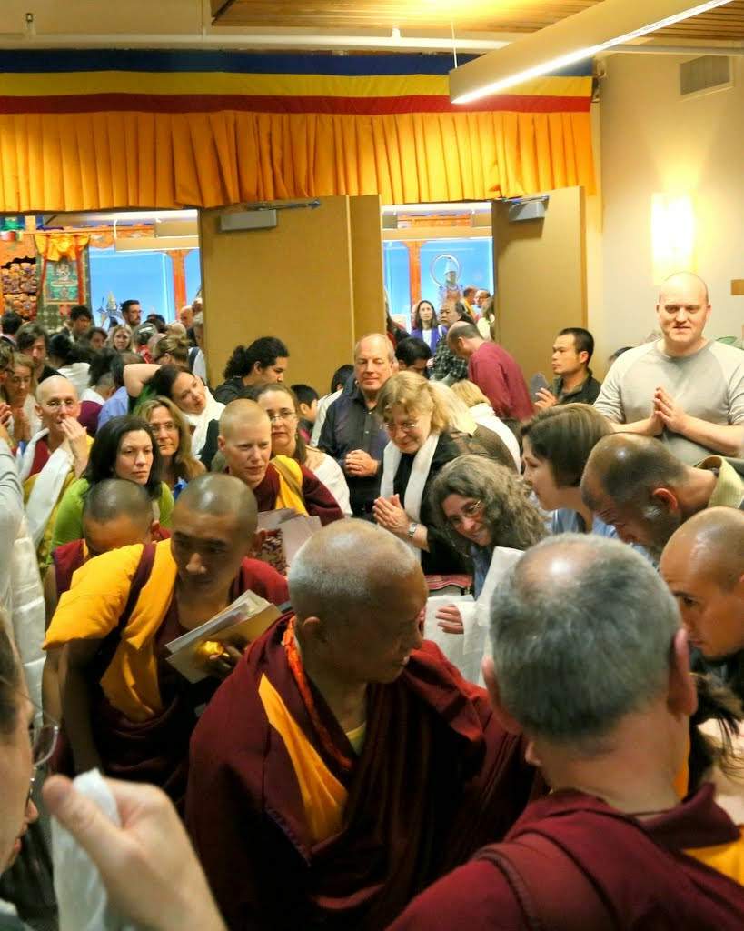 Lama Zopa Rinpoche after the Vajrasattva initiation at Maitripa College, Portland, Oregon, US 2014. Photo by Ven. Thubten Kunsang.