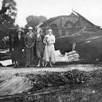 Middle Farm after the fire in 1934. Charlotte Greenough, Wyn Greenough, Irene and her mother, Mrs. Kimber.
