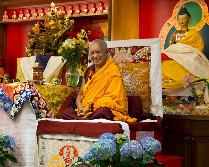Lama Zopa Rinpoche at Kadampa Center, Raleigh, North Carolina, US, May 3, 2014. Photo by David Strevel.
