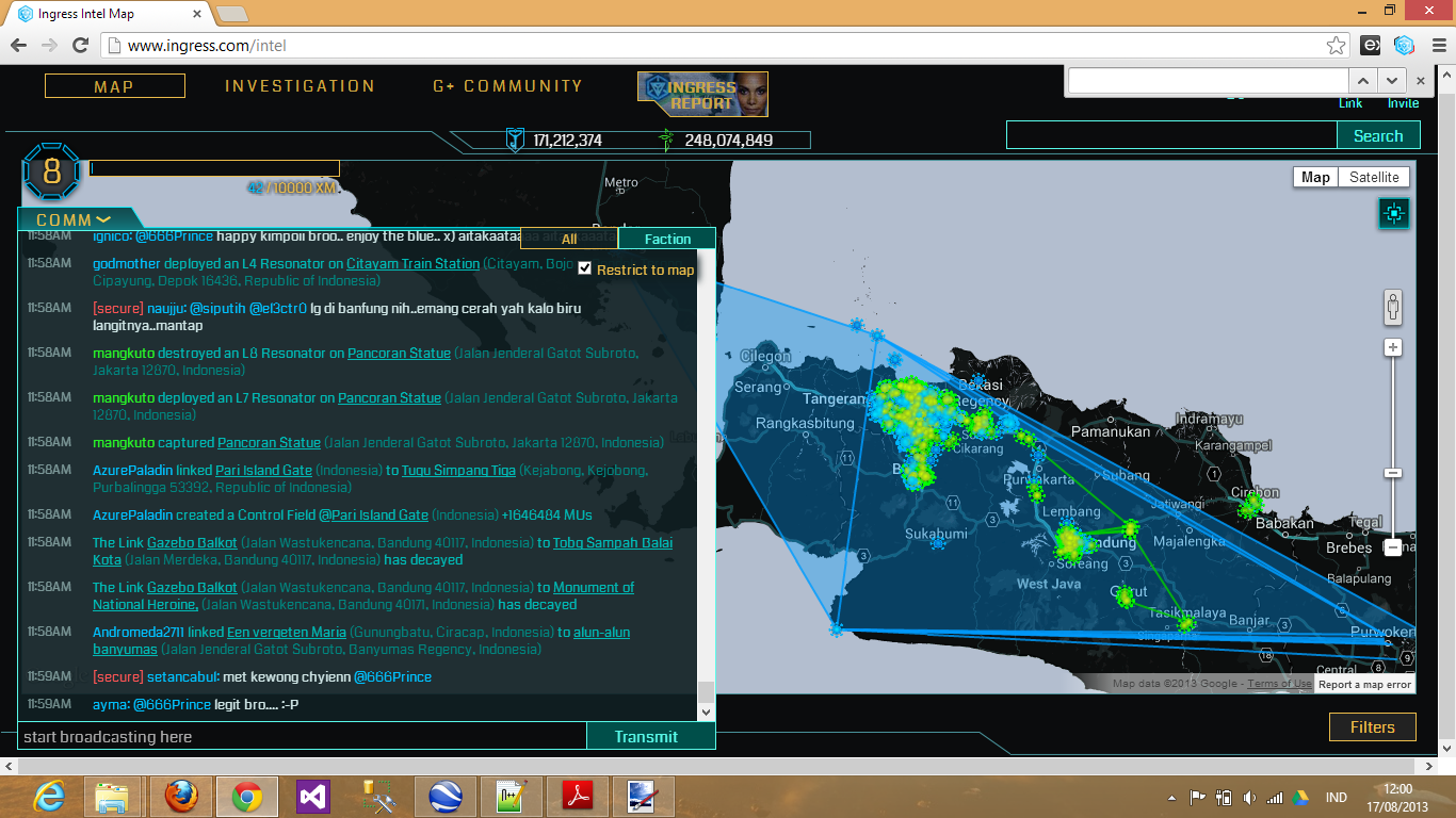 AzurePaladin linked Pari Island Gate to Tugu Simpang Tiga, creating control field with 1646484 MUs