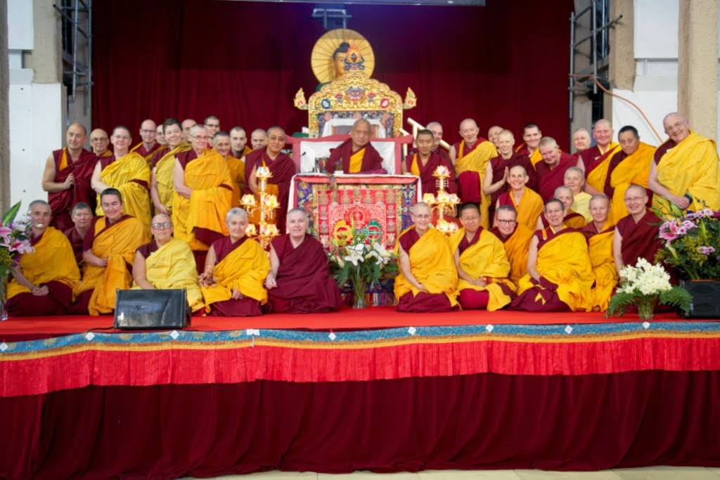 FPMT spiritual director Lama Zopa Rinpoche with IMI Sangha members, CPMT 2014 meeting, Great Stupa of Universal Compassion, Australia, September 2014. Photo by Steve Alberts.