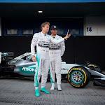 Mercedes W06 with Lewis Hamilton and Nico Rosberg