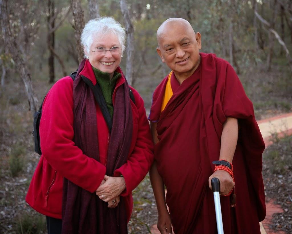 Lama Zopa Rinpoche with Paula de Wijs-Koolkin, FPMT Inc. board member, before the beginning of CPMT 2014, Australia, September 2014. Photo by Ven. Thubten Kunsang.