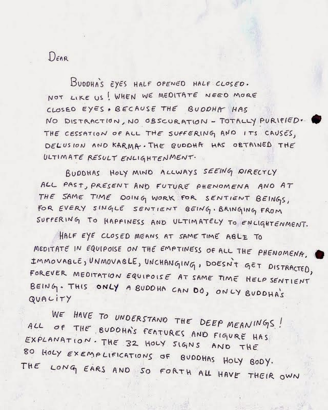 Letter from Lama Zopa Rinpoche to artist creating statue with instructions on how to do the statue's eyes