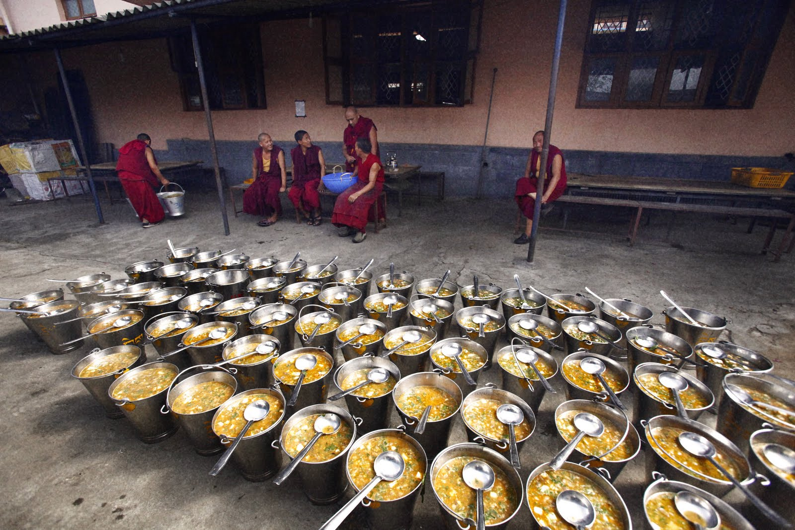 Three times each day, enough food must be prepared for 2,500 monks.