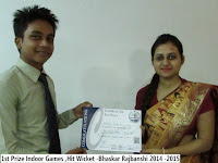 1st Prize Indoor Games ,Hit Wicket -Bhaskar Rajbanshi 2014 -2015