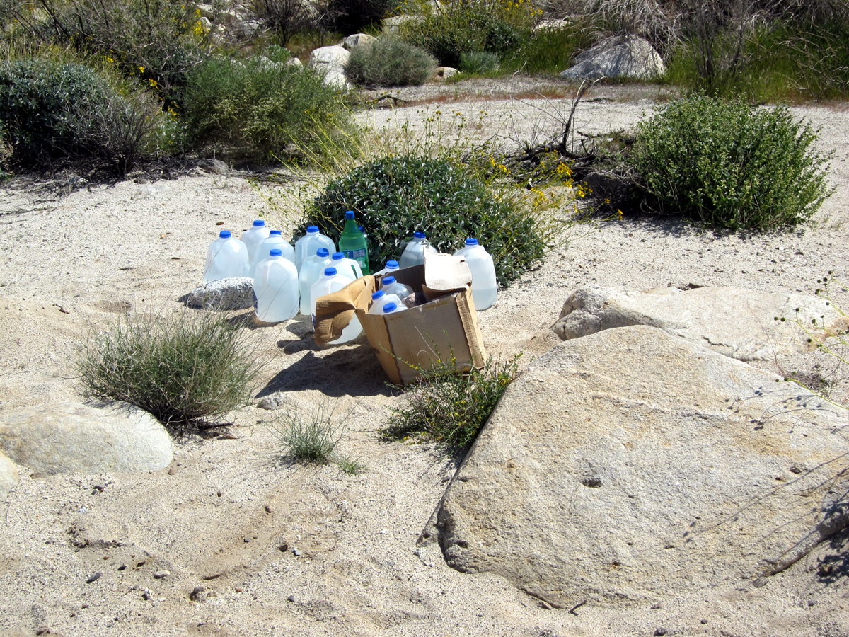 Water catchment for Mexican migrants making their way through the Desert