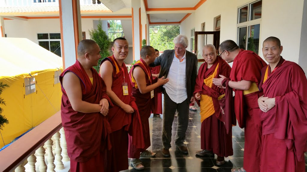 American actor Richard Gere attended His Holiness the Dalai Lama's Jangchub Lamrim teachings in South India and had lunch one day with Lama Zopa Rinpoche, India, December 2014. Photo by Fabrizio Palloti.