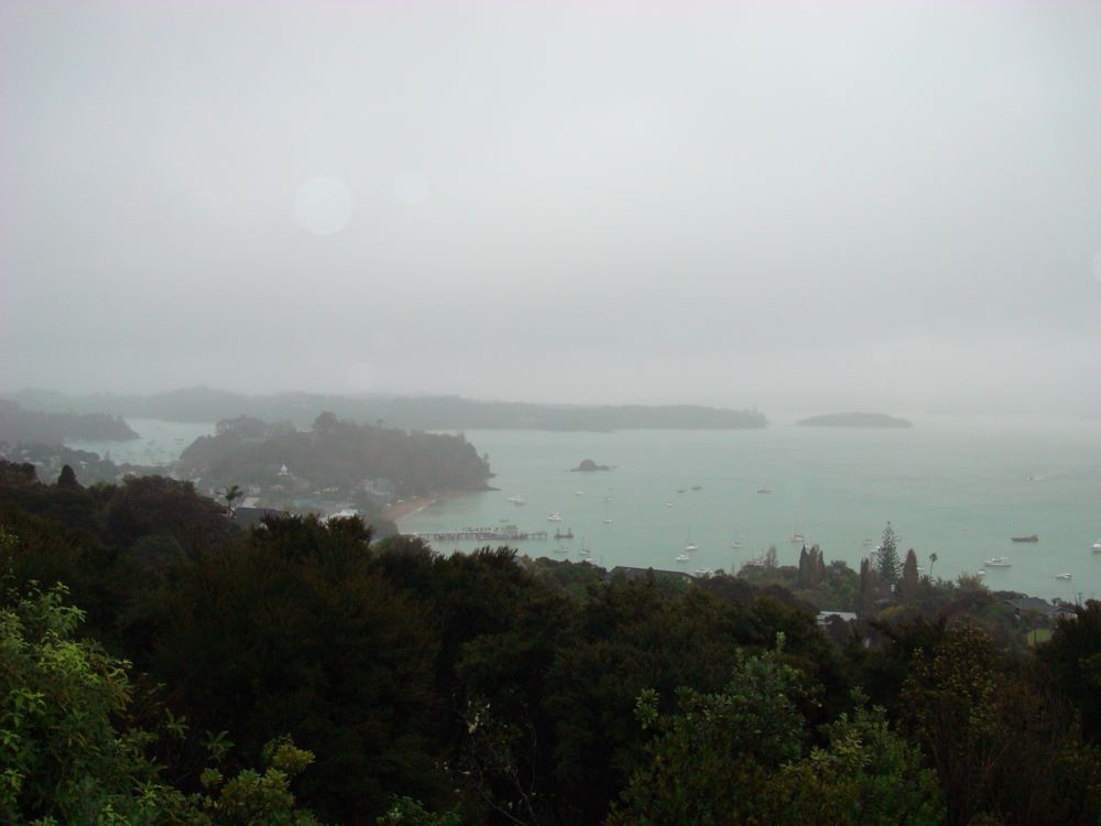 Russell in the rain from Flagstaff Hill