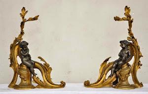Антикварная дворница для камина. 19-й век. Позолоченная бронза, патина. 58/16/41cm