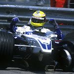 Ralf Schumacher crashed his Williams FW23 BMW