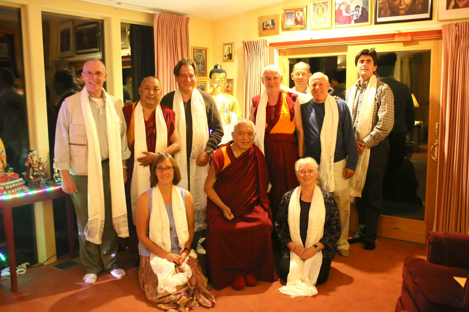 Rinpoche with members of the FPMT Board of Directors. Aptos, California. September 2013. Photo by Ven. Thubten Kunsang.