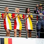 Daniel Ricciardo on his way to the podium with F1 grid girls