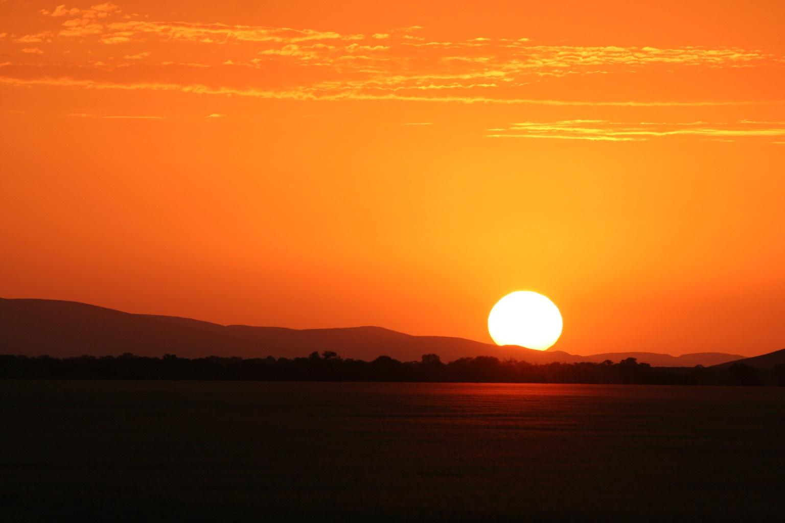 Sunset in Namib desert