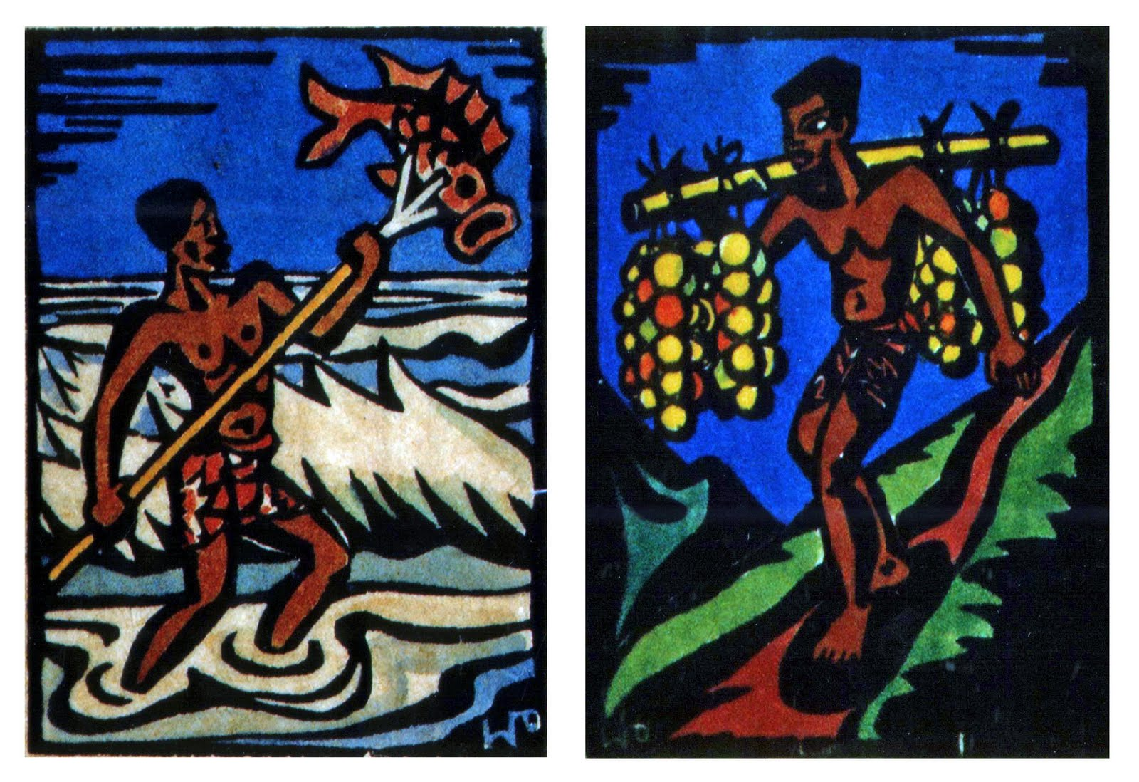 Spear fisherman and fruit bearer, watercolored hand prints, no date, family-owned
